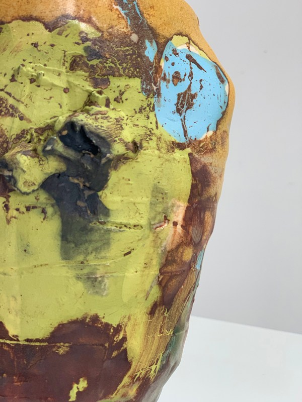 wide vase chartreuse underglaze