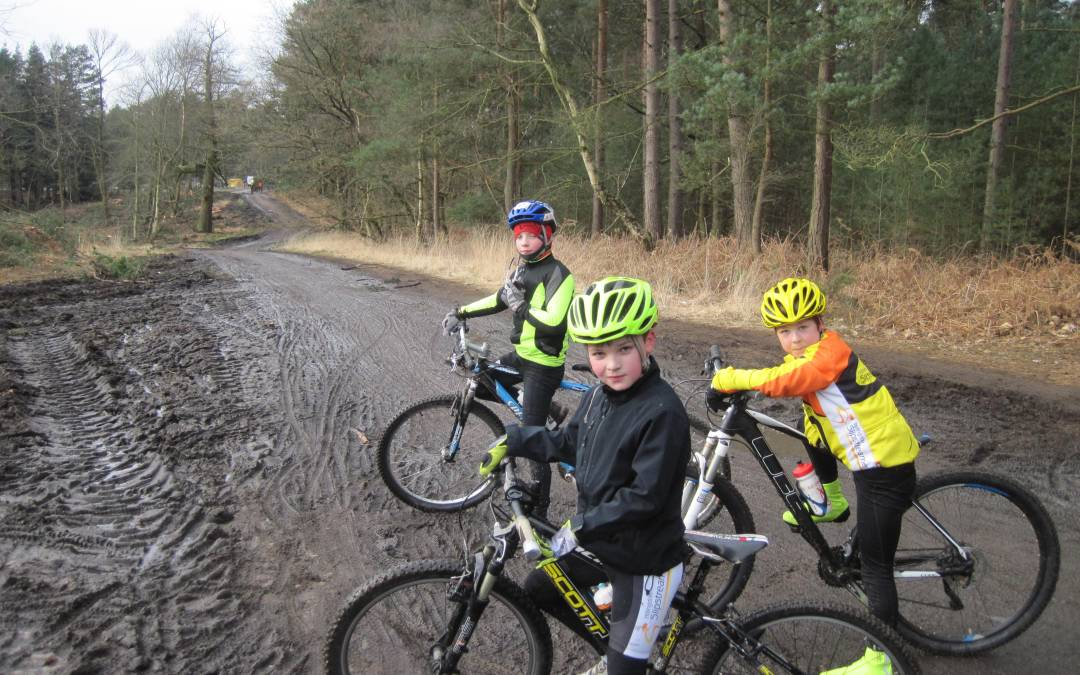 "Frances, Theo & Riders Report on Feb Swinley Forest MTB ""Lookout Ride"""