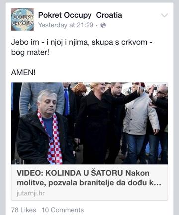 pokret occupy hrvatska Marijana Mirt branitelji prosvjed