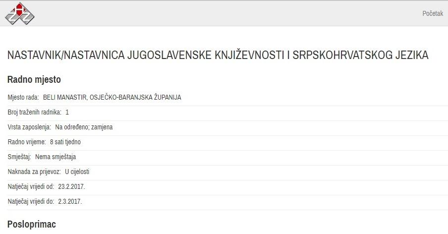 škola, beli manastir, nastavnik, jugoslavenska književnost, srpskohrvatski jezik