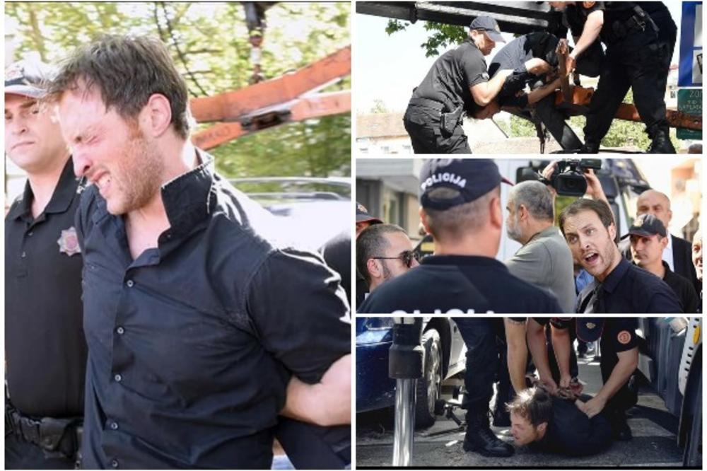ДРАМА: Црногорската полиција апси политичар качен на неговиот автомобил (ВИДЕО)