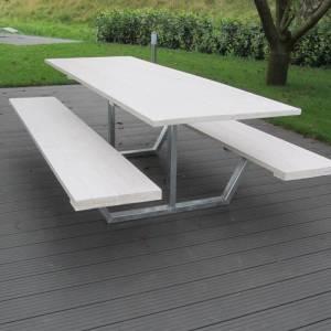 Picknick tafel stalen frame houten blad