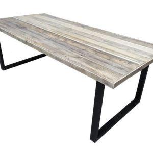 Tafel met sloophout breed blad en stalen u-onderstel