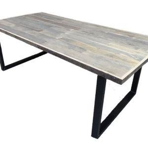 Tafel met eikenhout sloophout blad en stalen U onderstel