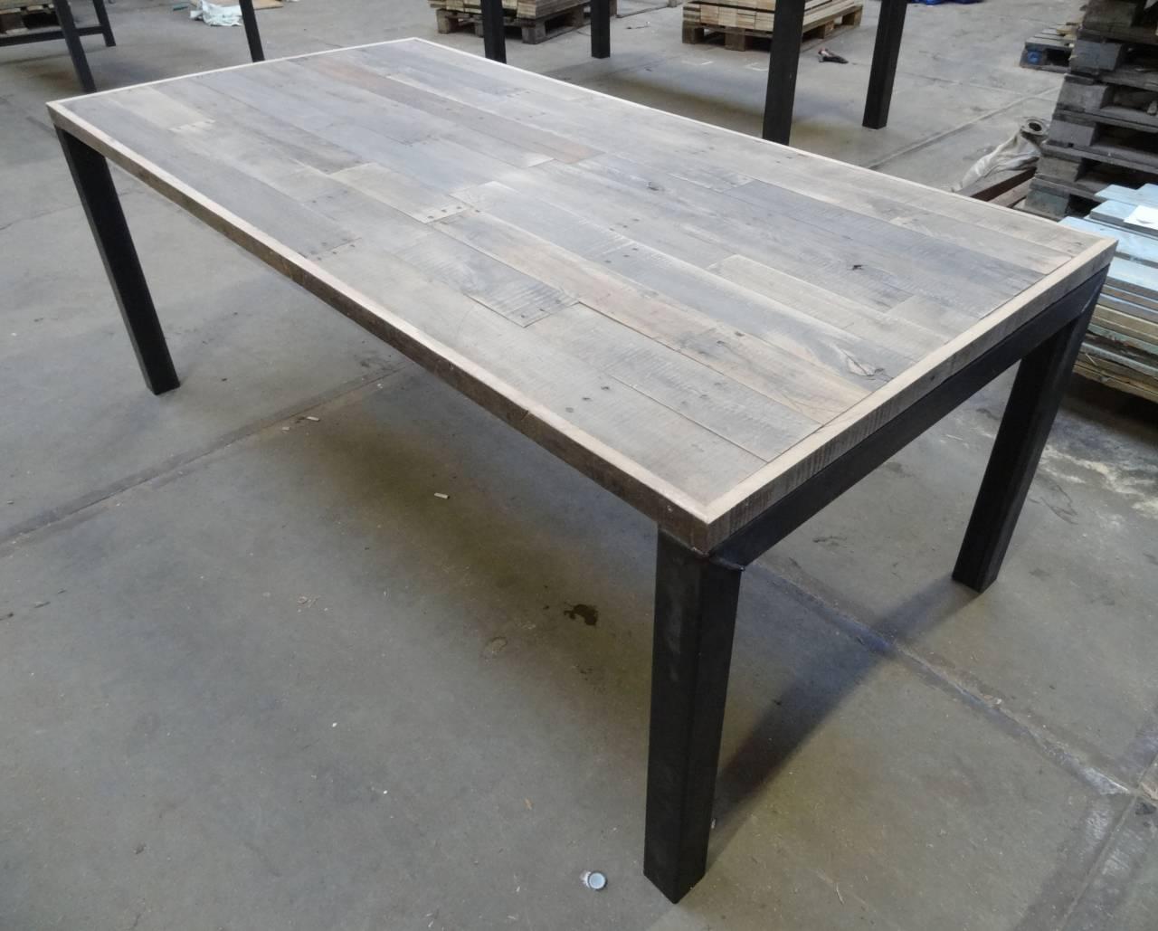 Tafel Stalen Poten : ≥ eiken tafel stalen onderstel eettafel stalen poten tafels