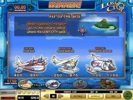 Lost city slot bonus game aeroplanes