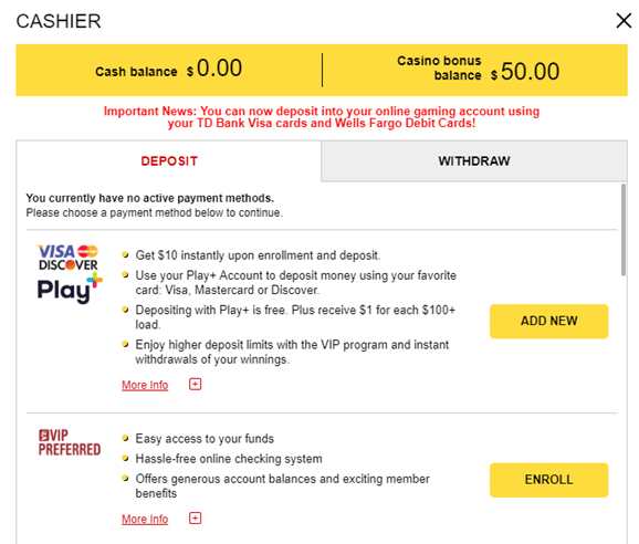 Withdrawal options at Golden Nugget online casino