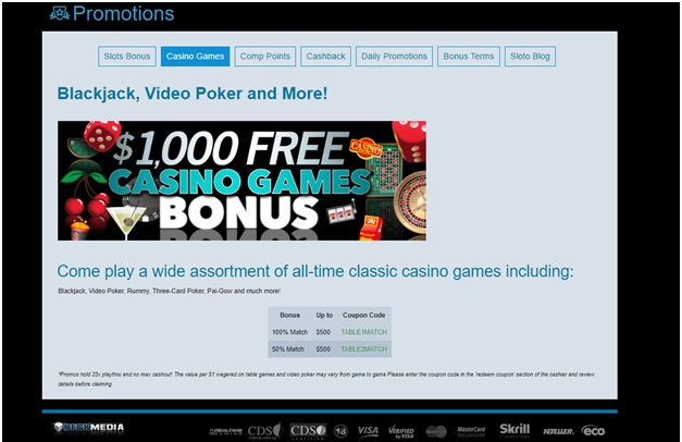 SLotocash table game bonuses