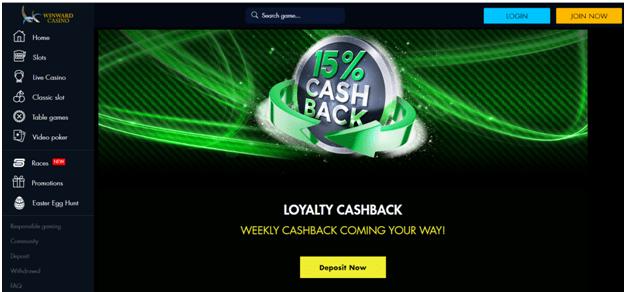 Winward casino cashback