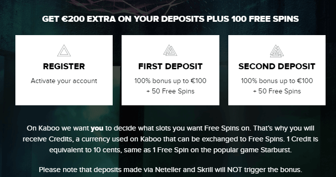 Kaboo Casino welcome bonus