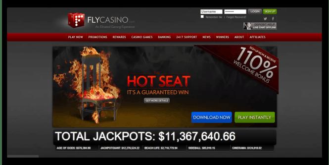 Fly Casino Homepage Screenshot