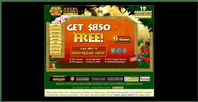 Aztec Riches Casino Homepage Screenshot