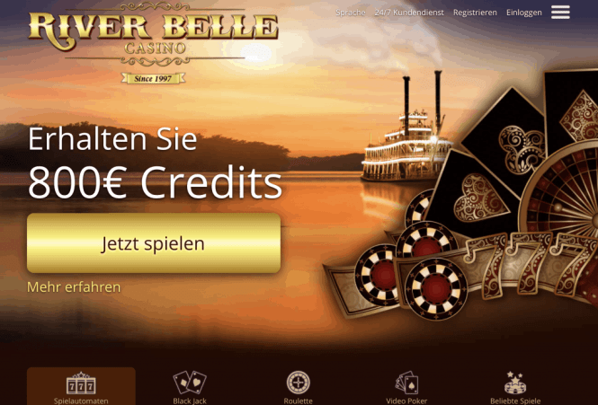 River Belle Casino Homepage Screenshot
