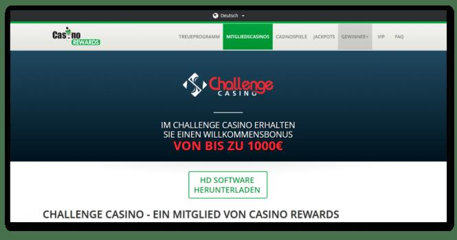 Casino Rewards - Challenge Casino Homepage Screenshot
