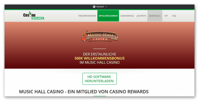 Casino Rewards - Music Hall Casino Homepage Screenshot