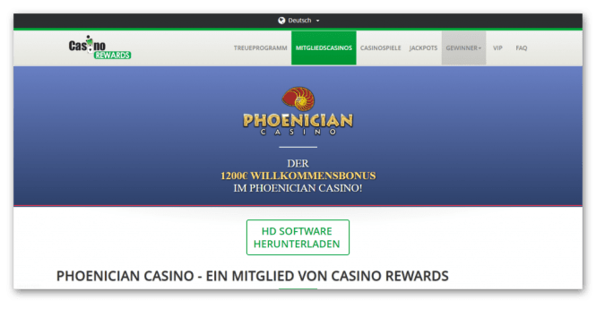 Casino Rewards - Phoenician Casino Homepage Screenshot