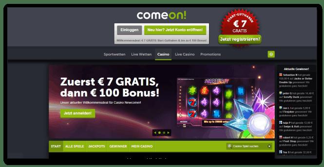 Comeon Casino Homepage Screenshot