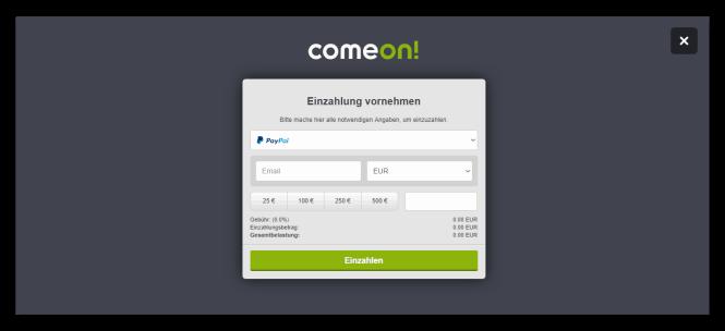 Comeon Casino Kassierer Screenshot