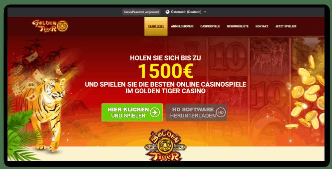 Golden Tiger Casino Homepage Screenshot