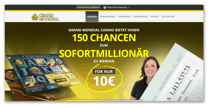 Grand Mondial Casino Homepage Screenshot