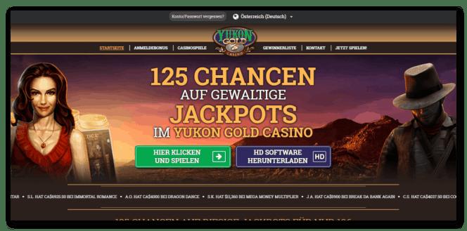 Yukon Gold Casino Homepage Screenshot