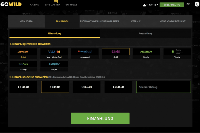 GoWild Casino Kassierer Screenshot