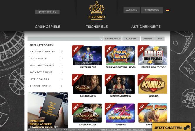 21 Casino Game Lobby Screenshot