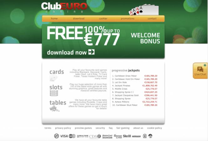 Club Euro Casino Homepage Screenshot