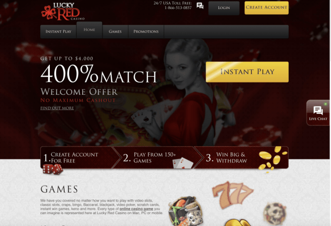 Lucky Red Casino Homepage Screenshot