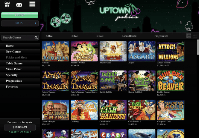 Uptown Pokies Casino Game Lobby Screenshot