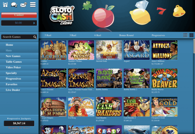 Sloto Cash Casino Game Lobby Screenshot