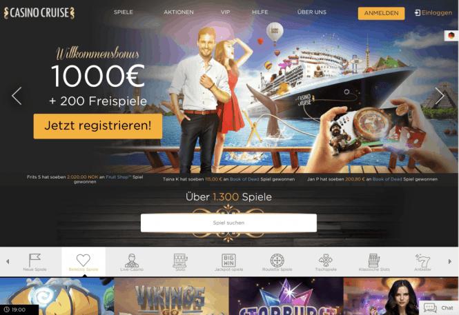 Casino Cruise Homepage Screenshot