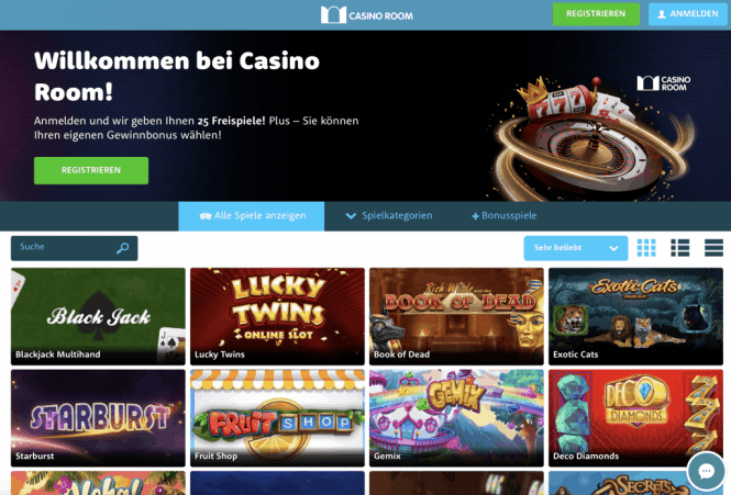 Casino Room Homepage Screenshot