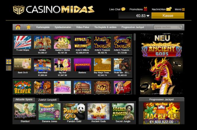Casino Midas Game Lobby Screenshot