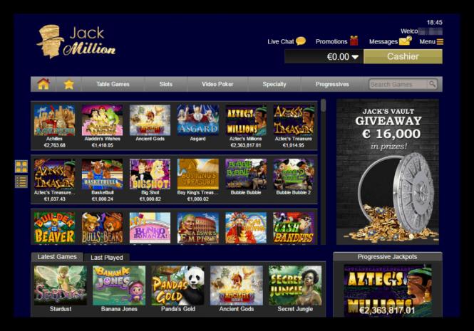 Jack Million Casino Game Lobby Screenshot