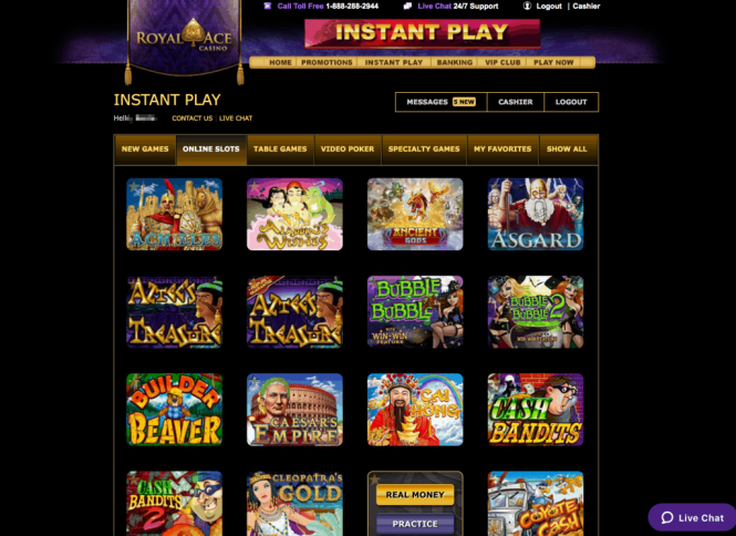 Royal Ace Casino Game Lobby Screenshot