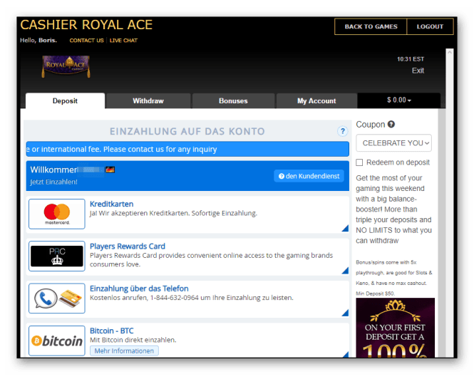 Royal Ace Casino Kassierer Screenshot