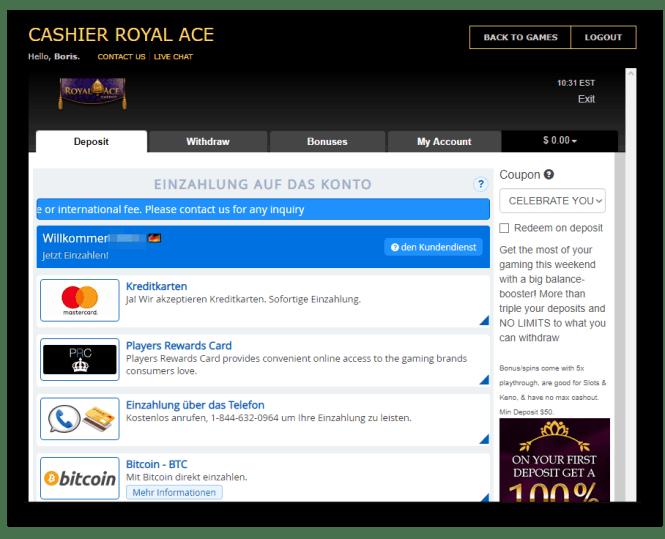 Royal Ace Casino Kassierer Screenshot