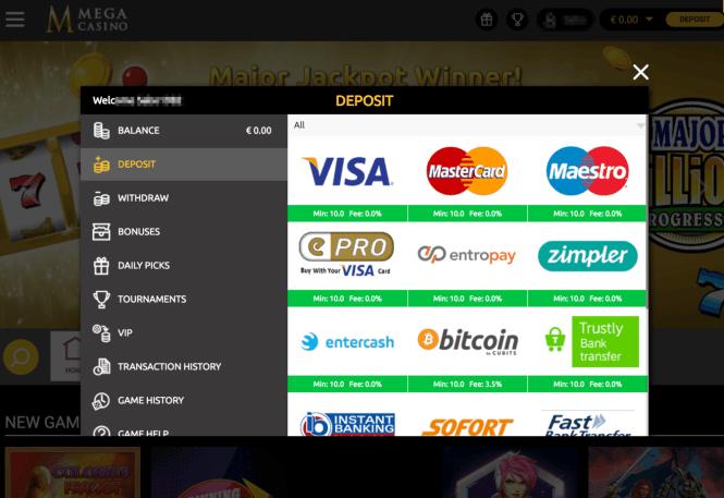 Mega Casino Kassierer Screenshot