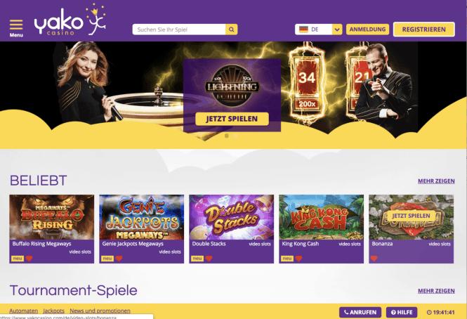 Yako Casino Homepage Screenshot