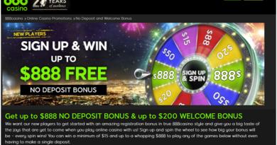 888 Casino- No Deposit bonus
