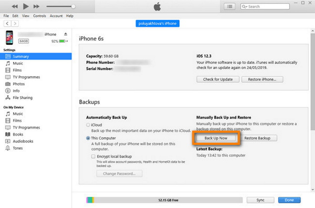Backup contacts with iTunes
