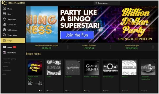 Bingo games at Rich Casino