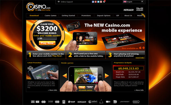 Casino.com $3,200 Deposit Bonus