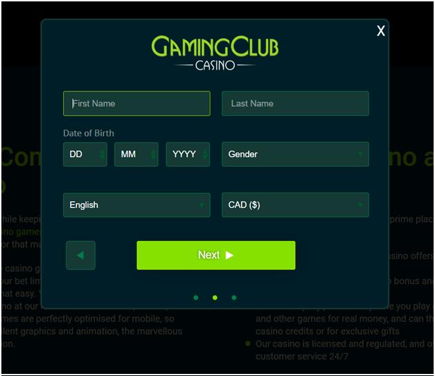 Gaming club registeration form