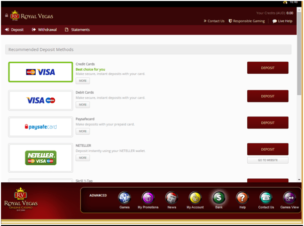 Royal Vegas- Banking