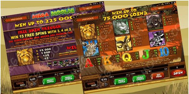 Mega Moolah Slots review- Bonus features