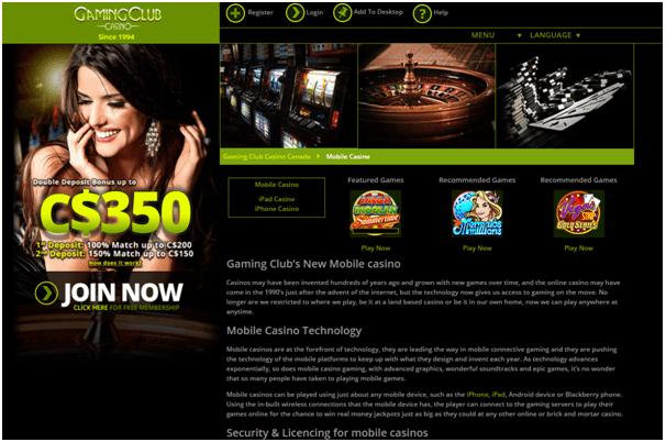 iPad Gaming Club Casino