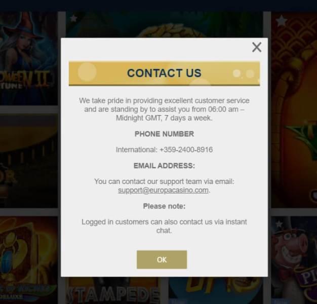 Europa casino support