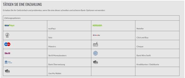 Die Bankmethoden im Platinum Play Casino sind deutschfreundlich
